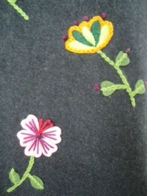 Other Impulse Wool Blend Floral Embroidery Applique Lined Retro Boho Skirt Grays Image 2