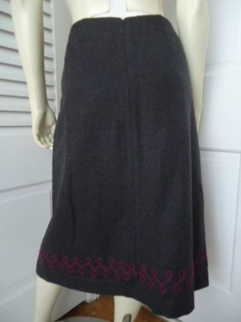 Other Impulse Wool Blend Floral Embroidery Applique Lined Retro Boho Skirt Grays Image 3
