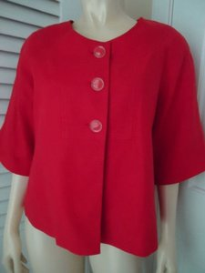 Signature Larry Levine Blazer Red Linen Retro 60s Swing Style Lined