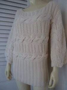 bebe Angora Blend Cable Knit Wide Neck Bulk Oversize Boho Hot Sweater