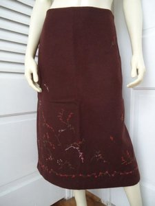 Banana Republic Straight Wool Blend Floral Embroidered Lined Skirt Reddish Auburn Brown