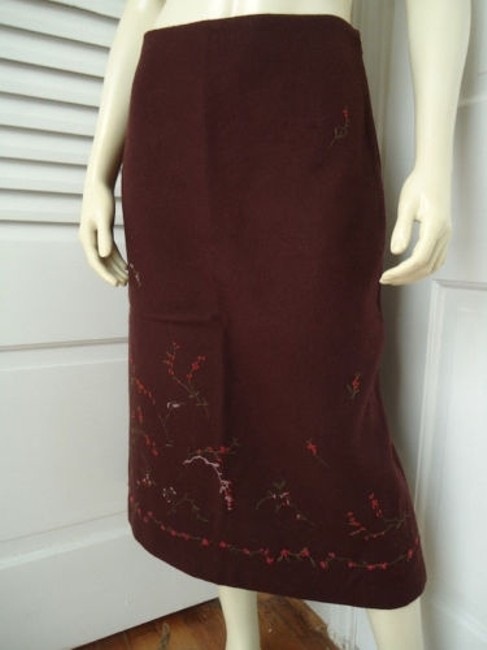 Banana Republic Straight Wool Blend Floral Embroidered Lined Skirt Reddish Auburn Brown Image 2