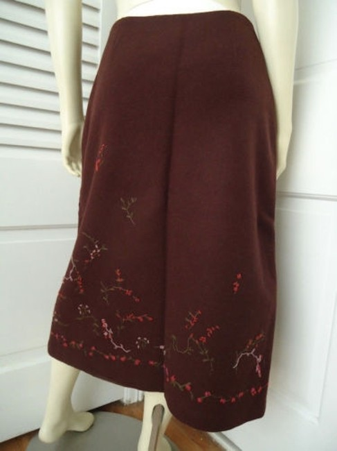 Banana Republic Straight Wool Blend Floral Embroidered Lined Skirt Reddish Auburn Brown Image 4