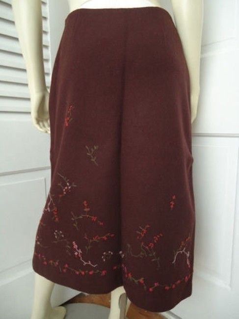 Banana Republic Straight Wool Blend Floral Embroidered Lined Skirt Reddish Auburn Brown Image 5