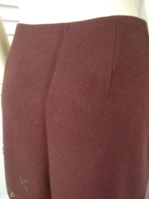 Banana Republic Straight Wool Blend Floral Embroidered Lined Skirt Reddish Auburn Brown Image 6