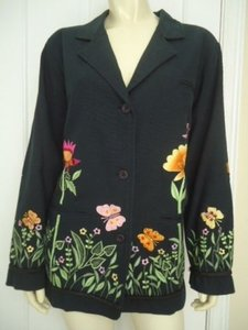Quacker Factory Butterfly Garden Cotton Blazer Unlined Sweet Blacks Jacket