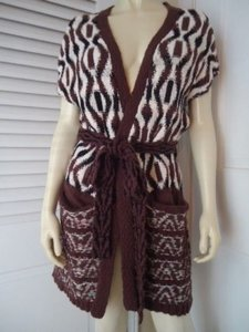 Anthropologie Knitted Knotted Long Vest 98 Belt Motif Sweater
