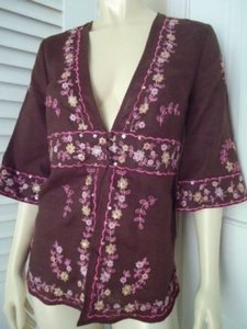 SilkLand Linen Embroidery Floral Deep Empire Waist Boho Top Brown