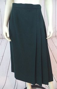 Talbots Worsted Wool Off Center Pleat Design Lined Classy Skirt Dark Green
