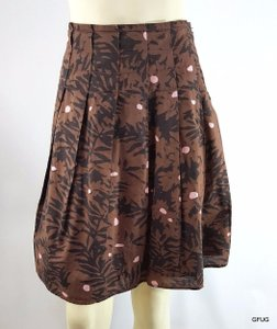 DKNY Donna Karan 2p Pink Floral Print Pleated Skirt Brown