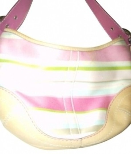 Preload https://item3.tradesy.com/images/coach-pink-tan-and-green-striped-canvas-with-leather-hobo-bag-144687-0-0.jpg?width=440&height=440