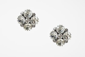 Weiss Furs Vintage Weiss Silver Tone Rhinestone Crystal Clustered Rosette Clip On Earrings