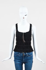 Henry Beguelin Suede Zipper Tassel Ruched Sleeveless Top Black