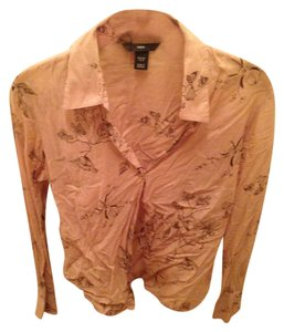 H&M Button Down Shirt Peach/Brown Floral