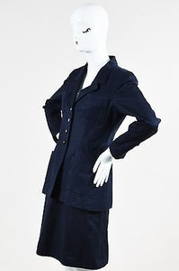 Chanel Chanel Navy Blue Skirt Suit Wgold Cc Buttons