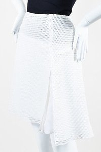 Reed Krakoff Knit Mesh Fishnet Honeycomb Skater Skirt White