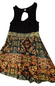 Material Girl (by Madonna) short dress Black/ Multi Flowers Cutout Neckline on Tradesy