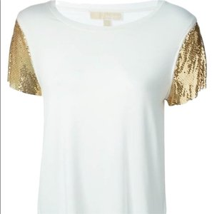 Michael Kors Mk Shirt Going Out Rose Gold Top white/gold
