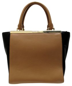 Michael Kors Leather Color Block Tote in Suntan/Black
