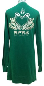 BCBGMAXAZRIA Shamrock Cardigan Wool Cotton Buttoned Button Pockets V Neck Heart Logo Print Silver Back Rhinestone Long Designer Sweater