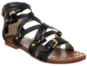 Matt Bernson Strappy Leather Ankle Strap Black Sandals