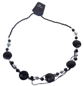 Fashion Jewelry Necklace with Beads and Chains - Black.