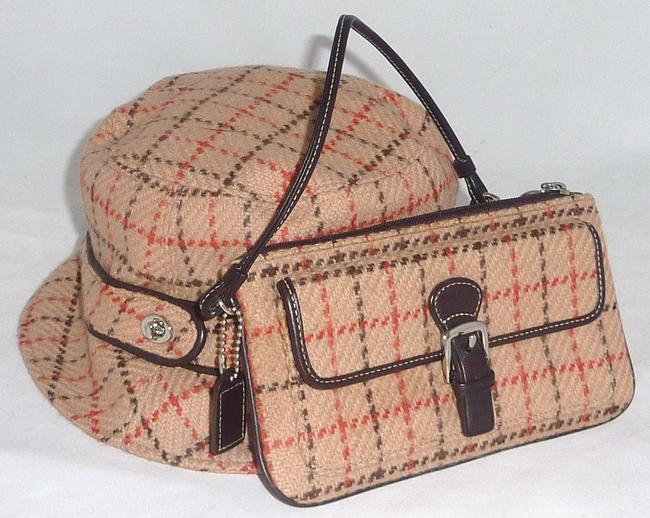 Item - Multi-color Bucket Bag Tattersall Plaid Wool + Wristlet Set Hat