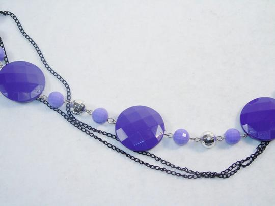 Other Fashion Jewelry Necklace with Beads and Chains - Lavender. Image 1