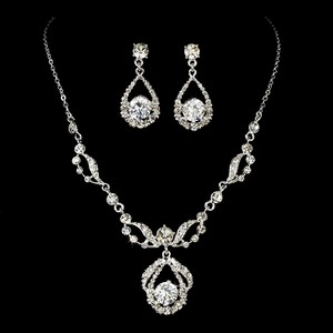 Elegance By Carbonneau Couture Rhodium Silver Rhinestone Bridal Jewelry Set