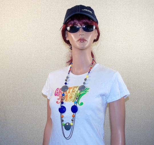 Other Fashion Jewelry Necklace with Beads and Chains - Rainbow. Image 4
