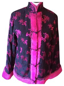 Shanghai Tang Black and Pink Silk Brocade Jacket