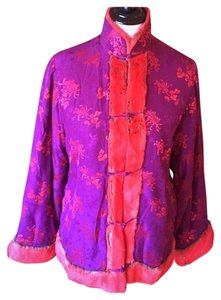 Shanghai Tang Pink and Red Silk Brocade Jacket