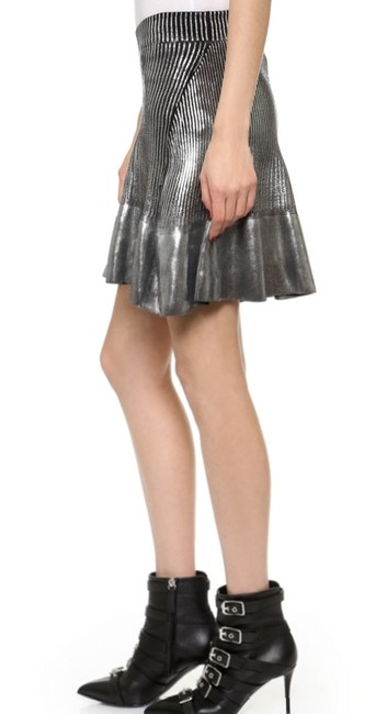 Ohne Titel Gucci Metallic Herve Leger New Years Eve Mini Skirt Silver Image 3