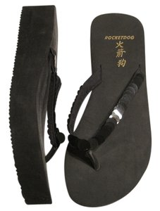 Rocket Dog Sequin Flip Flop BLACK Wedges