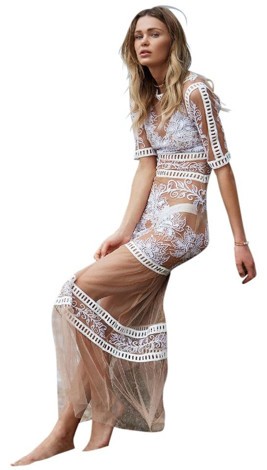 d4156d62a0c4 Nude and white Maxi Dress by For Love & Lemons Desert Nights Mesh  Engagement Image 0 ...