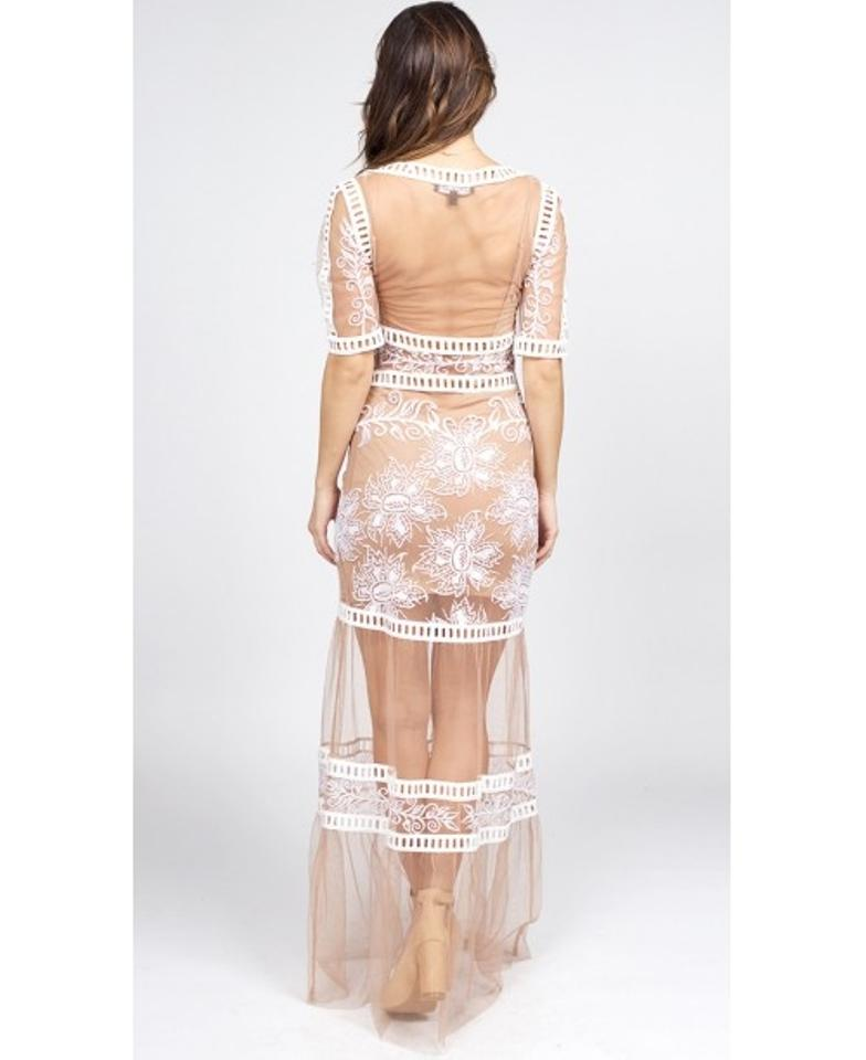 939e6b8262dc Nude and white Maxi Dress by For Love & Lemons Desert Nights Mesh  Engagement Image 2. 123