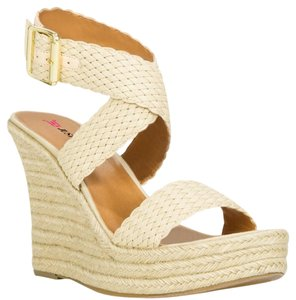 JustFab Woven IVORY Wedges
