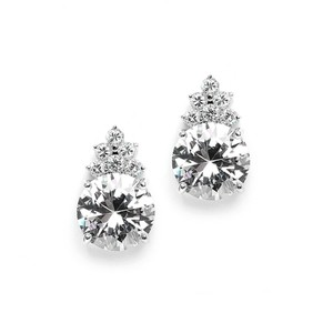 Mariell Bold Round Cz Bridal Or Bridesmaid Earrings With Cz Accents 3691e