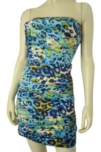 Snap Strapless Fitted Mini Sheath Stretch Leopard Print Pleated Dress