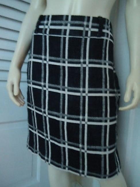 Ann Taylor Cotton Linen Blend Black White Checked Straight Lined Hot Skirt Multi-Color Image 1