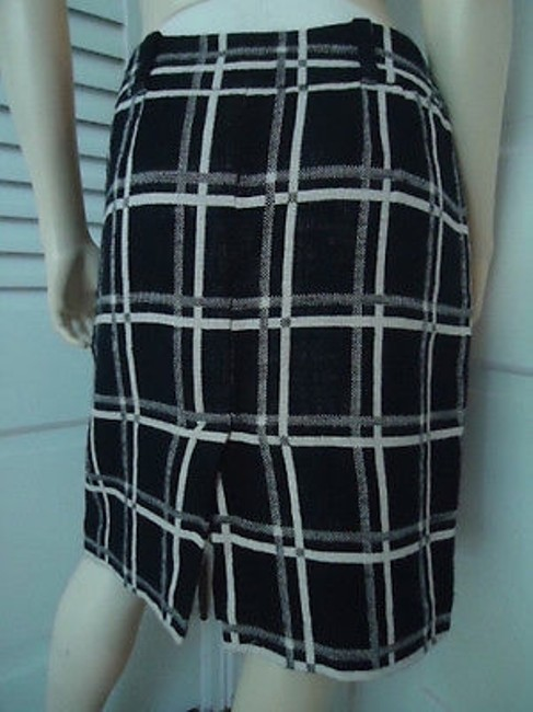 Ann Taylor Cotton Linen Blend Black White Checked Straight Lined Hot Skirt Multi-Color Image 3
