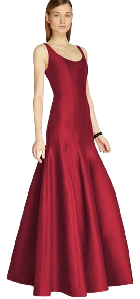 Halston Red Heritage Garnet Tulip Gown Evening Long Formal Dress ...