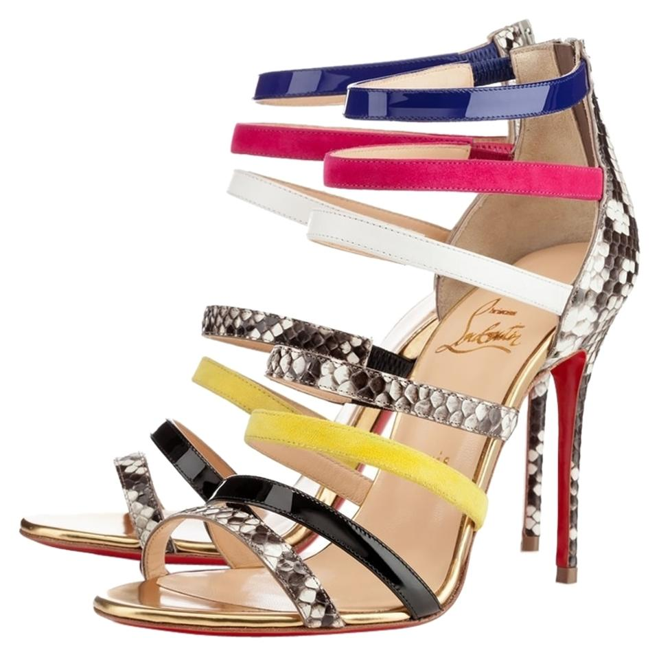 05cf3066894 Christian Louboutin Gold Silver Multicolor Tan Pink Leather Mariniere New  41 Sandals Size US 11 Regular (M, B) 44% off retail