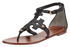 Tory Burch Gladiator Flats Leather Black Sandals