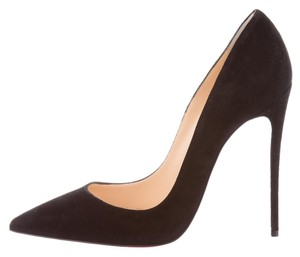 Christian Louboutin So Kate Pointed Toe Suede Black Pumps