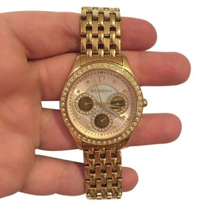 BCBGeneration BCBGirls Gold Chain Link Watch with Shell Inlay and CZ Accents