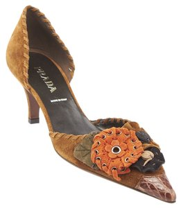 Prada Calzature Donna Suede Heels Brown Formal