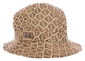 Fendi Brown zucchino monogram print canvas Fendi bucket hat New