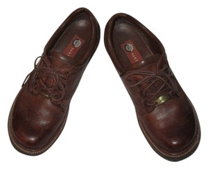 Earth Leather Upper Manmade Outsole Lace Up Sturdy Brown Athletic