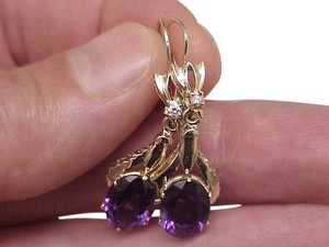 Stunning Estate Vintage 8.00ct Genuine Amethyst & Diamonds14kt Yellow Gold Earrings,1950s